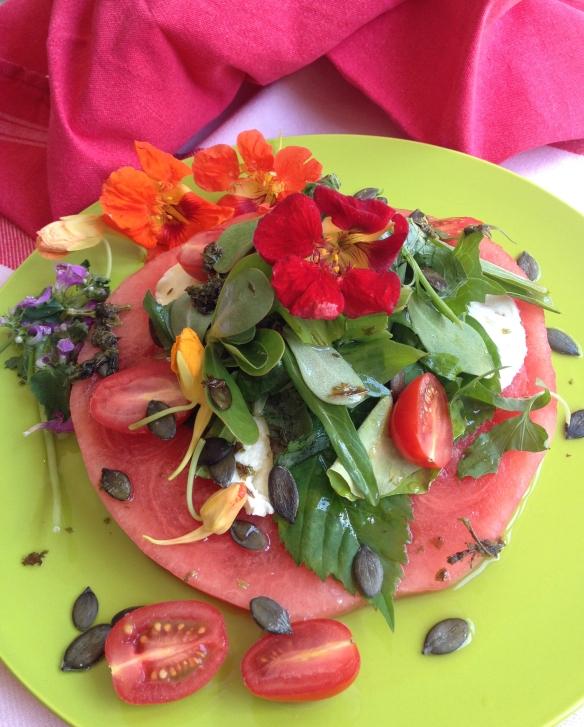 Wildpflanzensalat-Melone